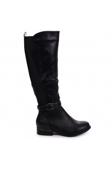 PURA - Black Nappa Riding Boot With Croc Back & Elasticated Sides