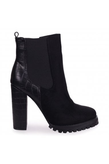 SHIMMY - Black Suede Heeled Ankle Boot With Croc Block Heel & Cleated Sole