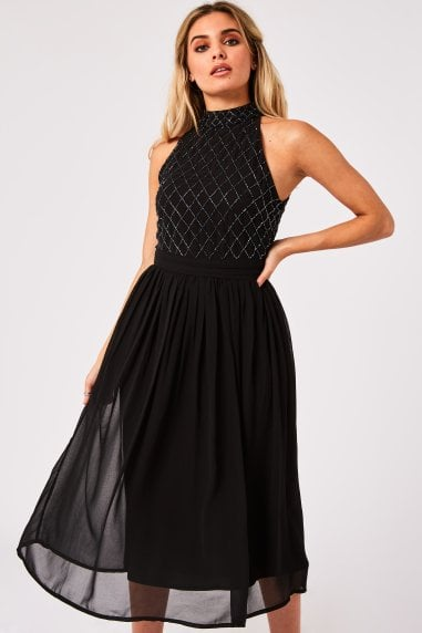 Bridesmaid Charli Black Hand-Embellished Midi Dress