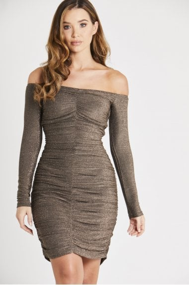 Off Shoulder Ruched Sequin Dress