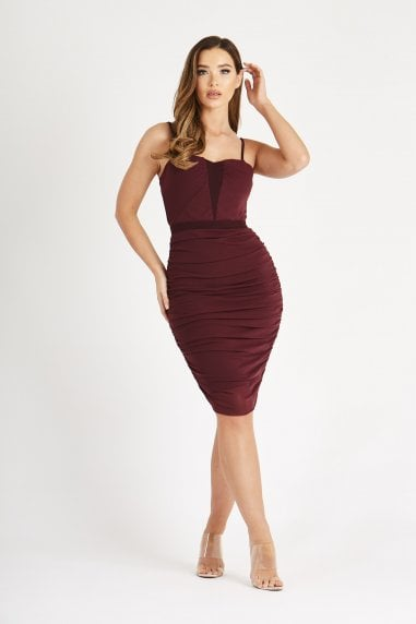 Burgundy Rushed Bodycon Dress