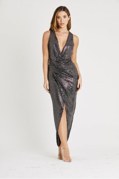Metallic Hot sequin Sleevless Dress