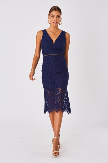 Virtue Navy Lace Peplum Midi Dress