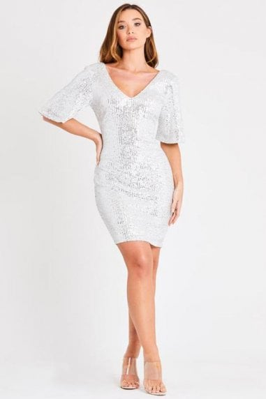 White Sequin Mini Dress with Kimono Sleeves