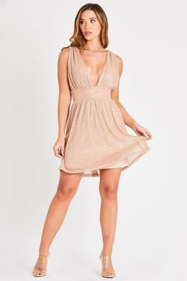 Metallic Krinkle Mesh Dress