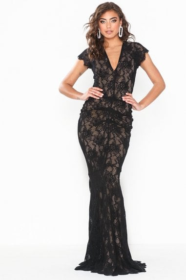 Arianna Black Lace Nude Underline Maxi Dress With Fishtail & Cap Sleeve