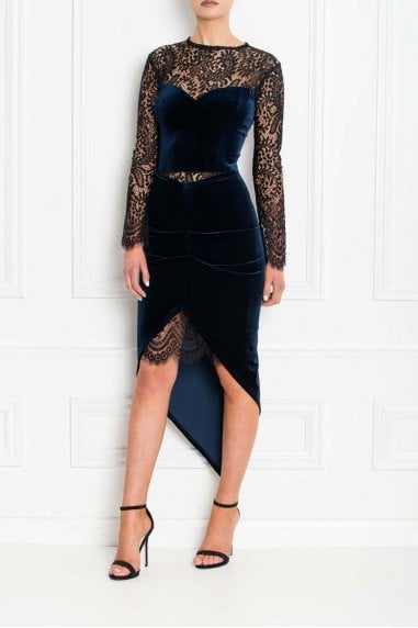 Estelle Navy Velvet and Lace Midi Dress