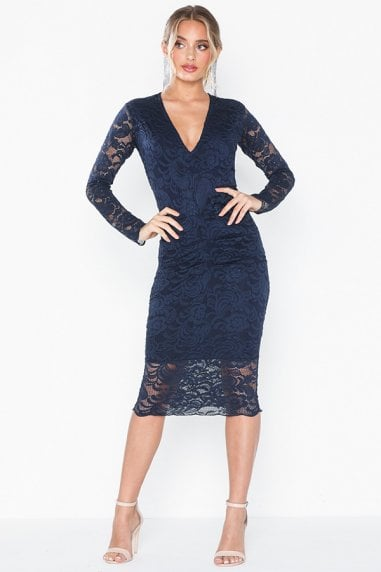 Lana Navy Lace Midi Dress With Long Sleeves