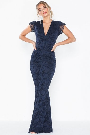 Lana Navy Lace Maxi Dress With Fishtail & Cap Sleeve