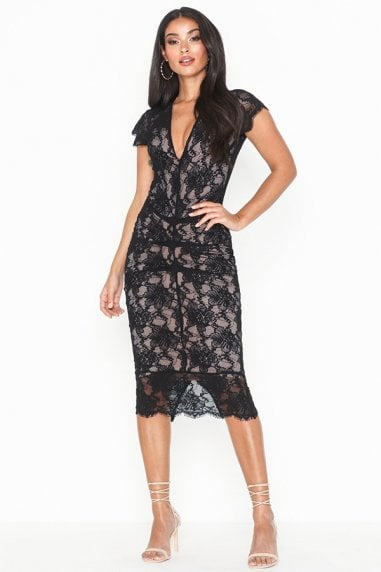 Arianna Black Lace with Nude Underline Midi Dress With Cap Sleeves