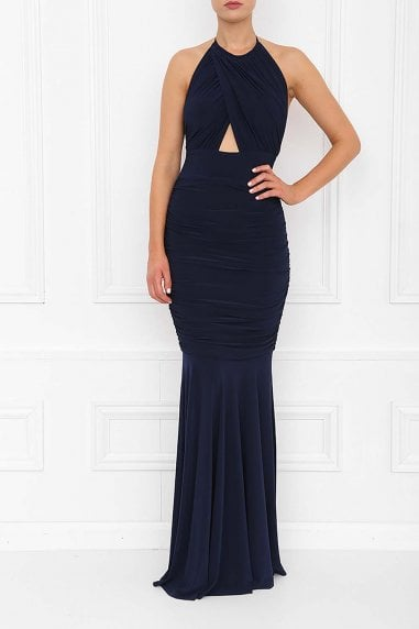Erin Navy Fishtail Maxi Dress
