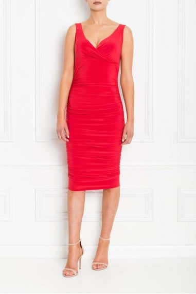 Gabby Red Fishtail Midi Dress