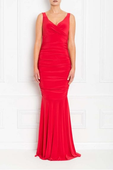 Gabby Red Fishtail Maxi Dress