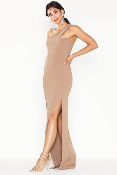 Melissa Mocha One Shoulder Maxi Dress With Front Split