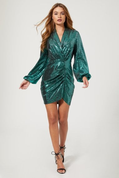 Belvedere Teal Foil Ruched Mini Dress