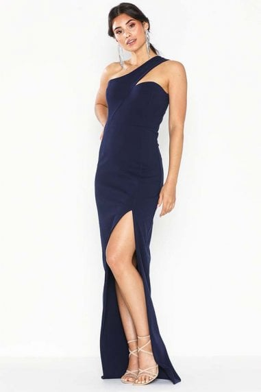 Melissa Navy One Shoulder Maxi Dress With Front Split