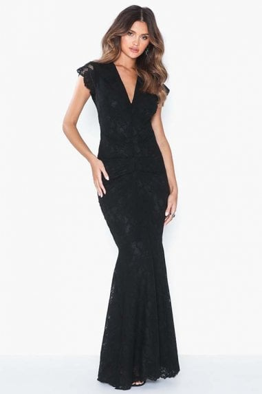 Arianna Black Lace Maxi Dress With Fishtail & Cap Sleeve