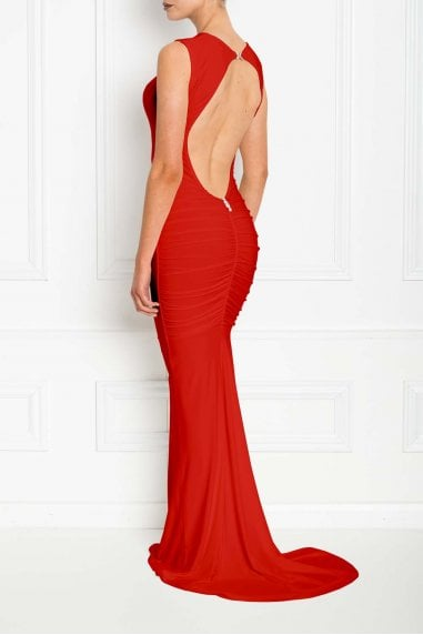 Bella Red Backless Sleeveless Maxi Dress