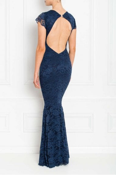 Faye Navy Backless Lace Fishtail Maxi Dress With Cap Sleeves