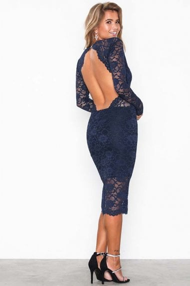 Vanessa Navy Backless Lace Midi Dress
