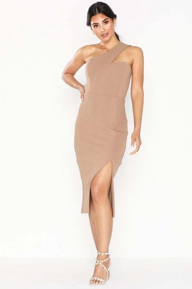 Melissa Mocha One Shoulder Midi Dress With Front Split