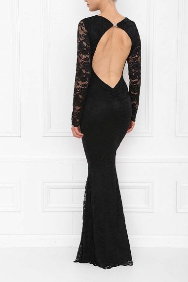 Faye Black Backless Lace Fishtail Maxi Dress With Long Sleeves