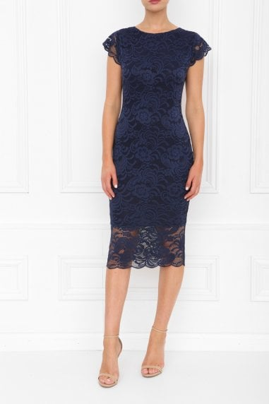 Faye Navy Backless Lace Midi Dress With Cap Sleeves