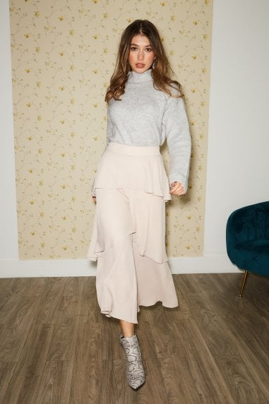 Phoenix Champagne Tiered Culotte Trousers