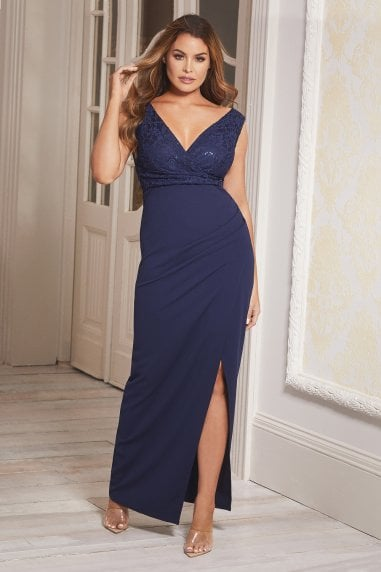 Sistaglam Selby Navy Maxi Embroidered V-Neck Dress