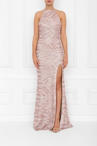Harley Rose Pink Sequin Backless Maxi Dress With Split