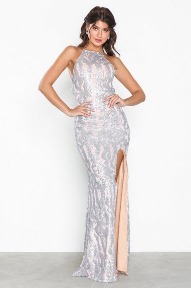 Harley Silver Sequin Backless Maxi Dress With Split