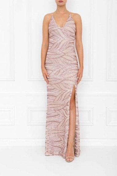 Gia Rose Pink Sequin Backless Maxi Dress With Split