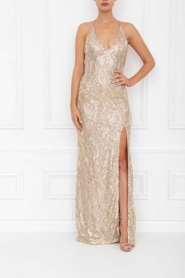 Gia Gold Sparkle Sequin Backless Maxi Dress With Split