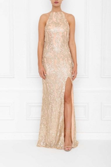 Harley Gold Blush Sequin Backless Maxi Dress With Split
