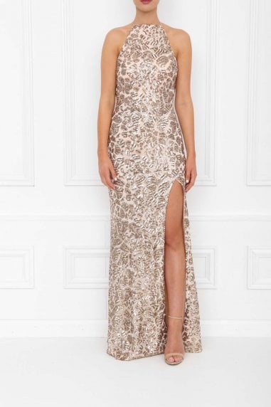 Harley Gold Sparkle Sequin Backless Maxi Dress With Split