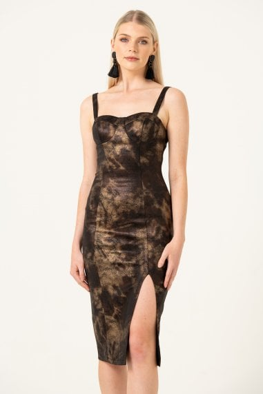 The Maven, Sidesplit Midi Dress in Gold