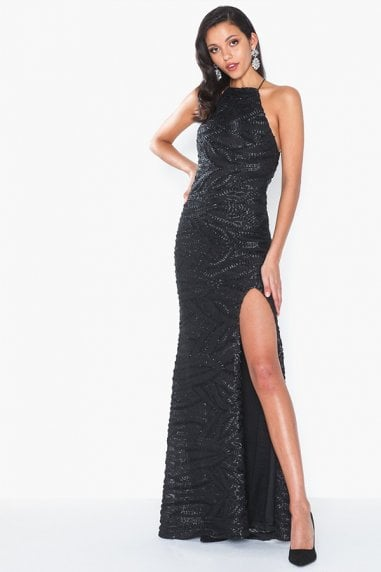 Harley Black Sequin Backless Maxi Dress With Split