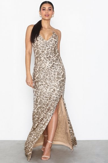 Gia Gold Sequin Backless Maxi Dress With Split