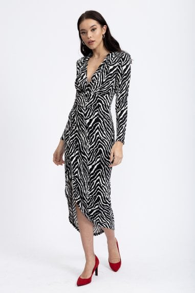 Black and White Zebra Print Jersey Midi Dress