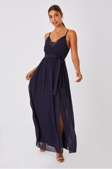 Gracious Navy Lace-Trim Cami Maxi Dress