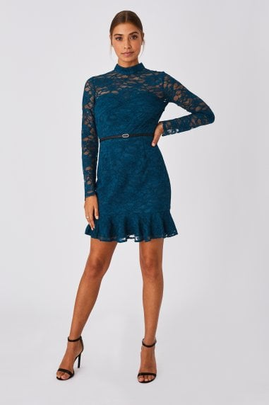 Carman Petrol Lace Belted Pephem Mini Dress