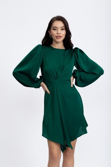 Asymmetric Forest Green Dress With Maxi Balloon Sleeves