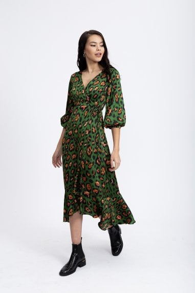 Animal Green Wrap Midaxi Dress with Ballony 3/4 Length Sleeves
