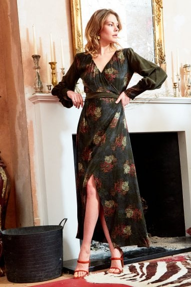 Verdant - V-Neck Jacquard Wrap Maxi Dress With side split