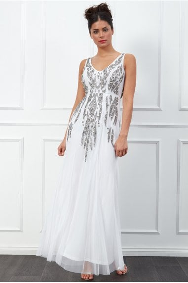 Goddiva Pearl Embellished Open Back Maxi Dress - White