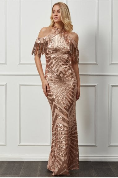 Goddiva Fringe Collar Sequin Maxi Dress - Champagne