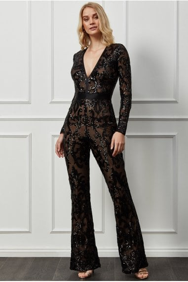 Goddiva Embroidered Sequin & Mesh Jumpsuit - Black