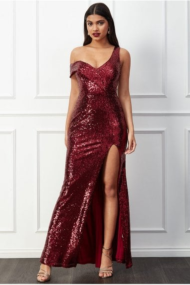 Goddiva Off the Shoulder Bandeau Sequin Maxi Dress - Wine