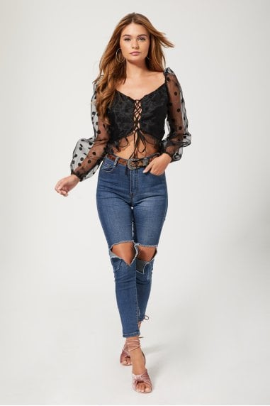 Tamworth Black Spot Puff Sleeve Crop Top