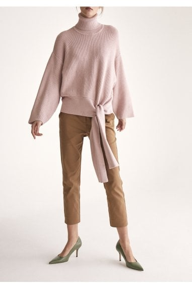 Oversized Roll Neck Jumper with Wrap Tie Waist in Blush